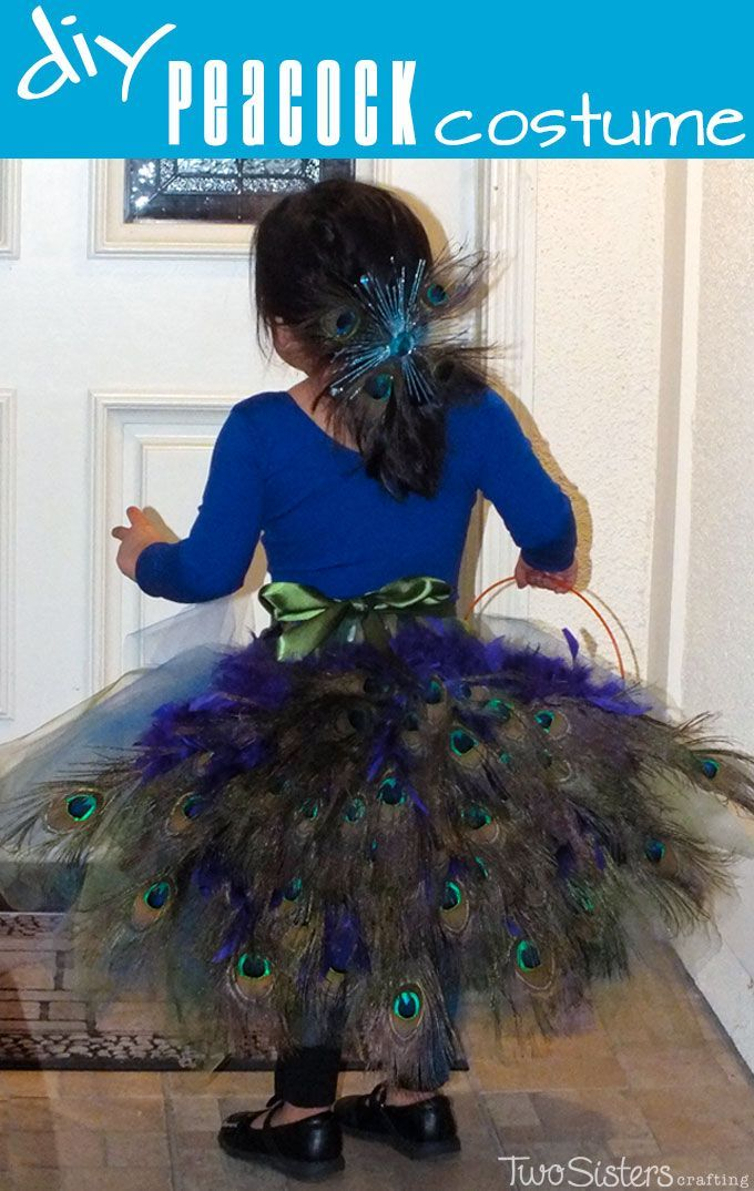 DIY Peacock Costume - Step by step directions on how to make a peacock costume. This Halloween Costume for Kids has a tulle tutu skirt and a peacock feather bustle.  For more great Kids Halloween Costumes follow us at http://www.pinterest.com/2SistersCraft/