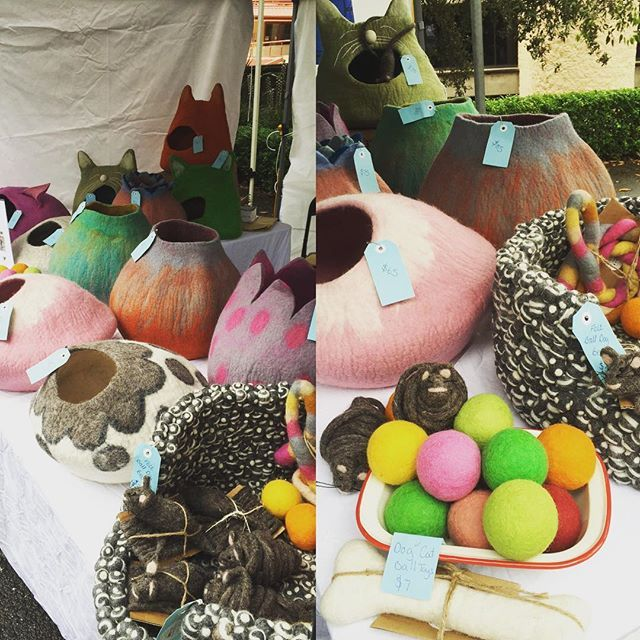 We're here #Northsydneymarket  @nthsydmkts Our felt pet collection is on sale! Come grab a bargain and say hello!  #catcaves #catcave #petsupplies #petaccessories #handmade #northsydneymarkets
