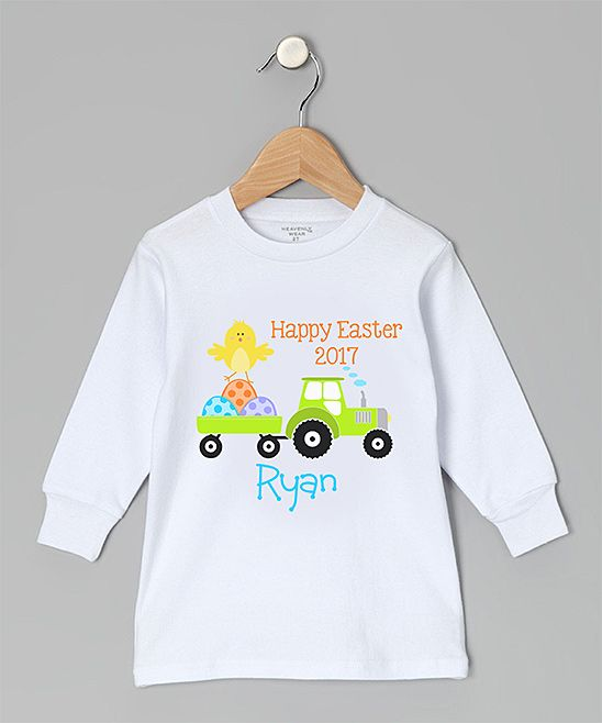 White Tractor 'Happy Easter' Personalized Tee - Toddler & Boys