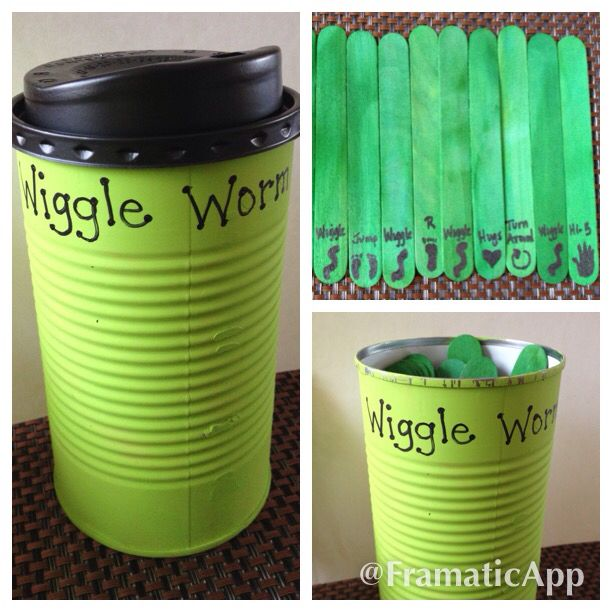 Preschool Game to get the wiggles out! Wiggle Worm! Each child takes a stick and the whole group does what it says: wiggle like a worm, high five, hop on left or right foot, give hugs, turn around, jump. Paint a Campbell's family size soup container, foam cup lid and colored jumbo craft sticks. Enjoy!