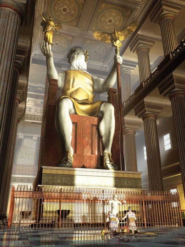 La Estatua de Zeus en Olimpia, fue destruida en el 393. Corresponde a una de las 7 Maravillas del Mundo Antiguo.