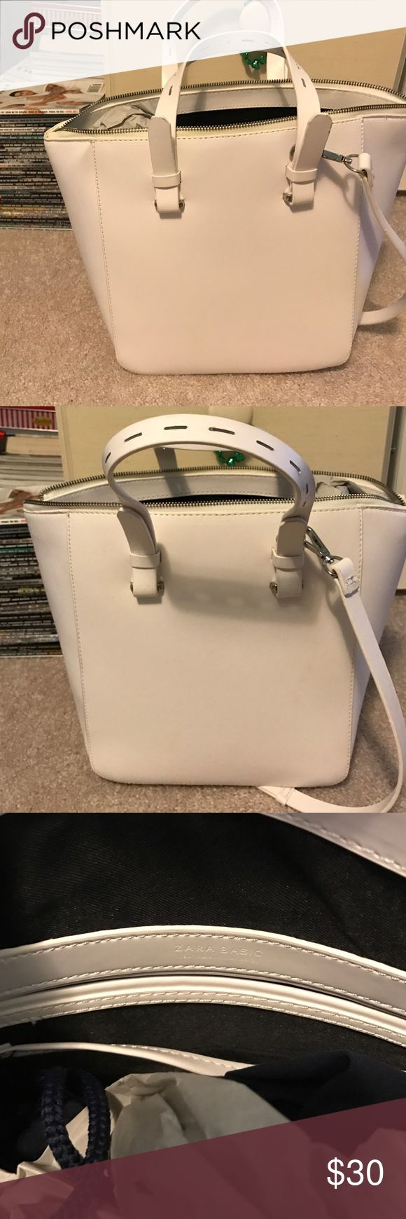 Zara Purse White, large purse with silver detail from Zara. Super cute and in great condition. Zara Bags Shoulder Bags