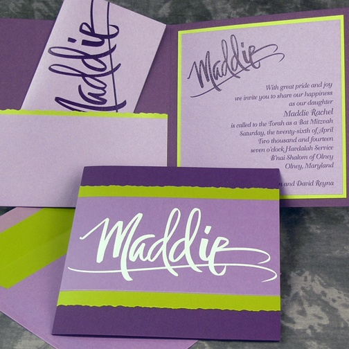 Bat Mitzvah Invitation with Pocket