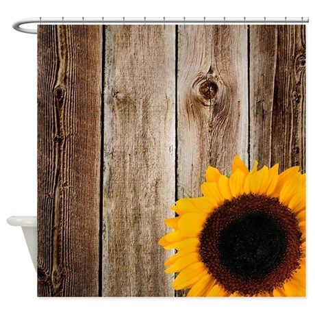 Rustic Barn Wood Sunflower Shower Curtain Perfect For A