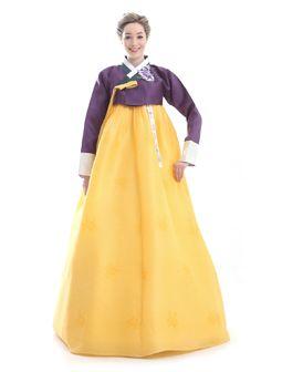 Custom Made Silk Yellow Purple Evening Hanbok Traditional Korean Dress