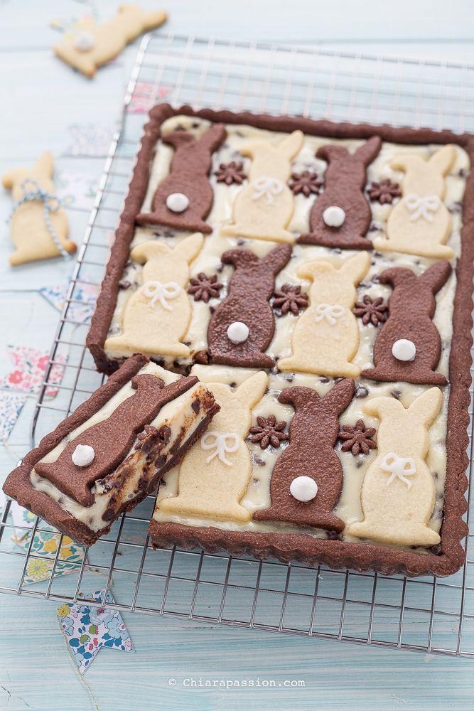 Crostata di Pasqua con crema di ricotta e cioccolato.Tart recipe, Easter bunny pie - Chiarapassion