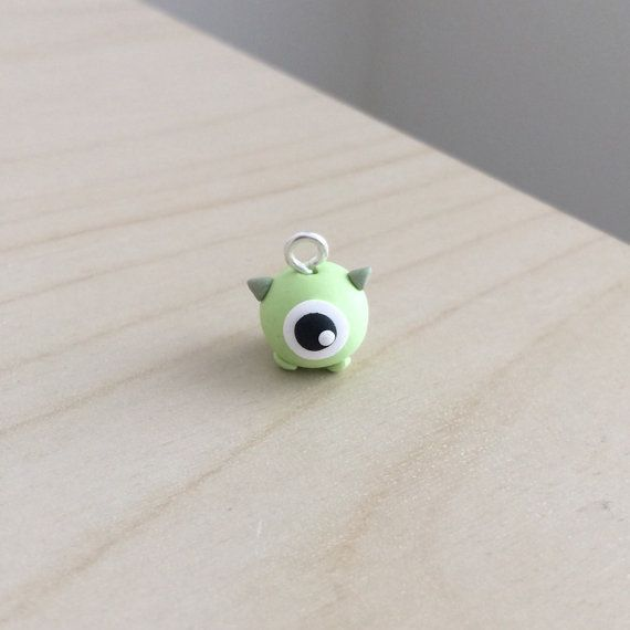 Personalized Photo Charms Compatible with Pandora Bracelets. Mini Mike Wazowski Polymer Clay Charm