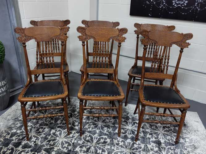 Antiques By Design - Griffin Carved Oak Press Back Dining Chairs | Antique  Dining Chairs in 2018 | Pinterest | Dining chairs, Antique dining chairs  and ... - Antiques By Design - Griffin Carved Oak Press Back Dining Chairs