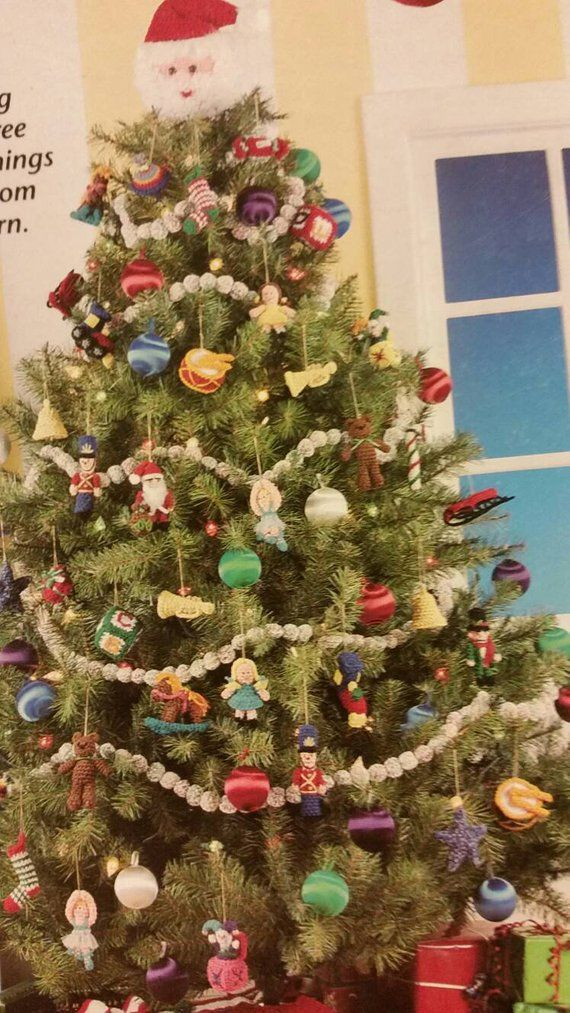 MTO Crocheted Old Fashioned Christmas Tree Ornaments Set of 22