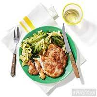 For the noodle lettuce salad.   Veal or Pork Scaloppine & Egg Noodles with Gem Lettuce.Rachael Ray Magazine