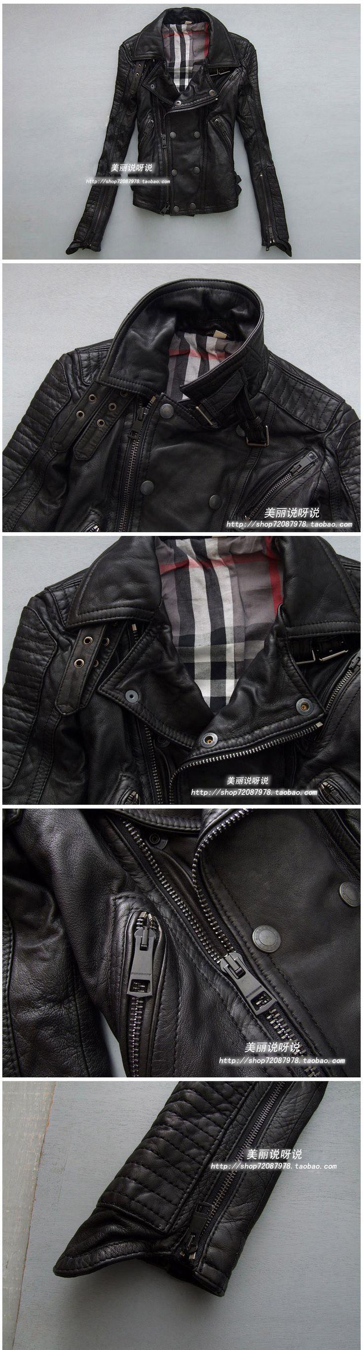 Classic Fashion Star Style Motorcycle Genuine Leather Clothing Pure Sheepskin Leather Jacket Female S-2xl