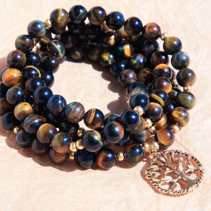 108 Perlen der Mala, buddhistischen Gebet Bead, Yoga-Halskette, Meditation Schmuck für Zielerreichung & Stressabbau, blau und gelb Tiger Eye von MishkaSamuel auf Etsy https://www.etsy.com/de/listing/126285184/108-perlen-der-mala-buddhistischen-gebet