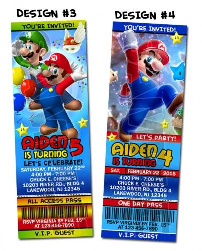 Super Mario Bros Ticket Birthday Party Invitations - Printable | BLiTzDesignz - Digital Art  on ArtFire