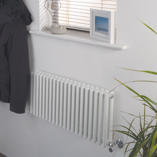 Luxury White Heated Designer Horizontal radiator with Vertical Columns