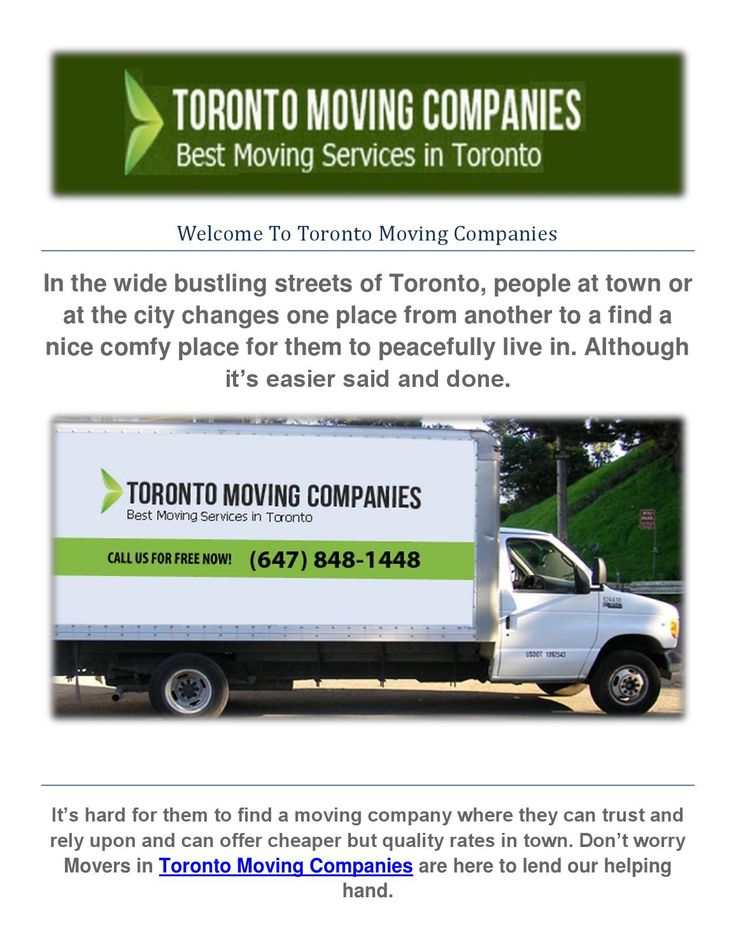 High quality moving services toronto moving companies  Toronto Moving Companies is a #1 moving company here in Toronto. It's a position we take great pride in since 2001 because of our commitment in serving our customers like no other. Being number one is an honor that we strive to maintain because Toronto Movers know our customers expect nothing but the best from us here at Toronto Moving Companies. More so, we expect nothing but the best from ourselves, too. Our network of more than 400…