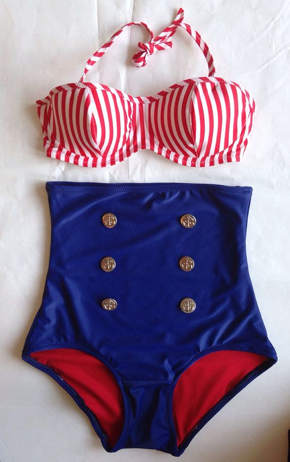 Hello Sailor! Nautical High Waist Bikini with Underwire Top is made out of navy nylon/spandex with red lining and silver anchor buttons. Suit is sewn