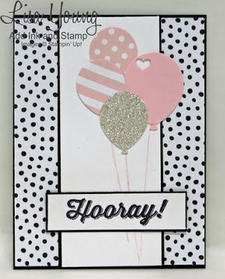 There is not much stamping involved with today's card - just a simple, bold sentiment. To create this card I used the new Balloon Bouquet Punch and made the balloons with card stock, glimmer paper, an