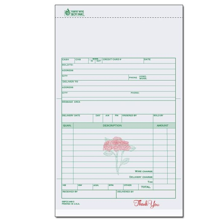 Florists & Flower Shop Invoices - Receipts