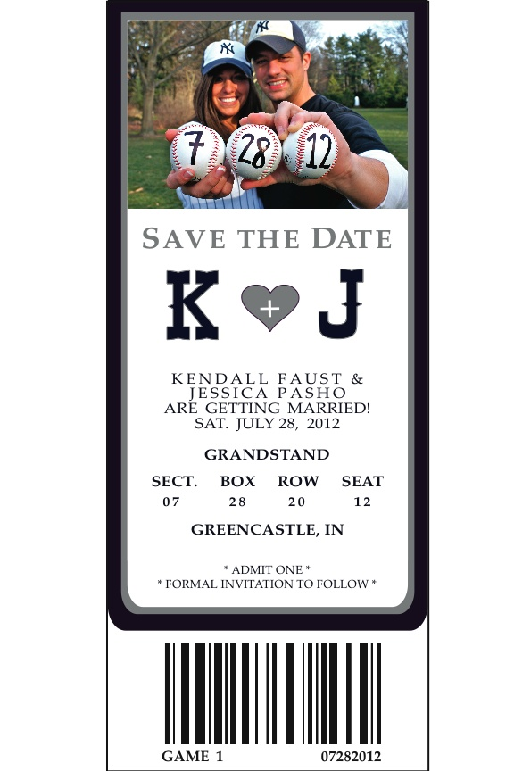 Our Save the Dates/ Baseball Themed