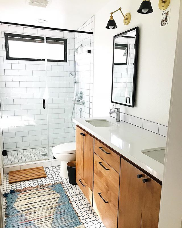 White Bright Modern And Minimal Bathroom Black Framed Windows
