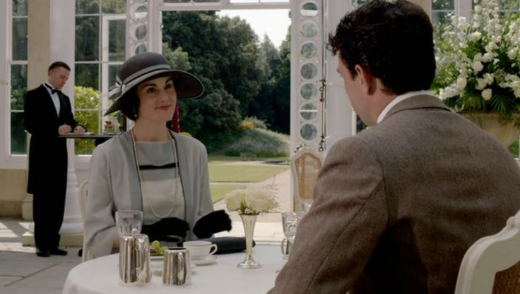 Downtown Abbey Season 4 Episode 7, Lady Mary and Lord Gillingham at Lunch, Syon Park