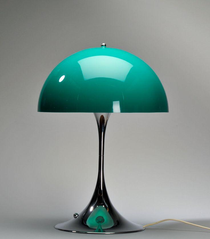 Danish interior designer Verner Panton; Plastic and Chromed Plastic 'Panthella' Table Lamp for Louis Poulsen, 1971
