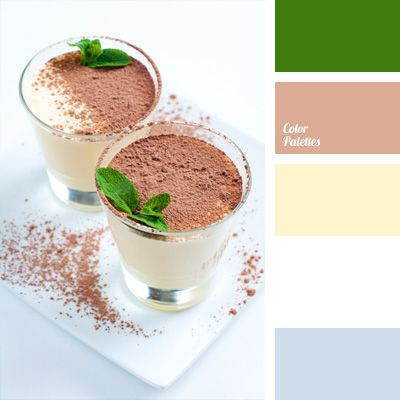 Soothing tone of hot cocoa with the addition of a soft shade of blue can create a peaceful indoor environment. Fresh mint tones used in this palette add a touch of vivacity and good mood to the decor. Palette is recommended for the lounges decor.