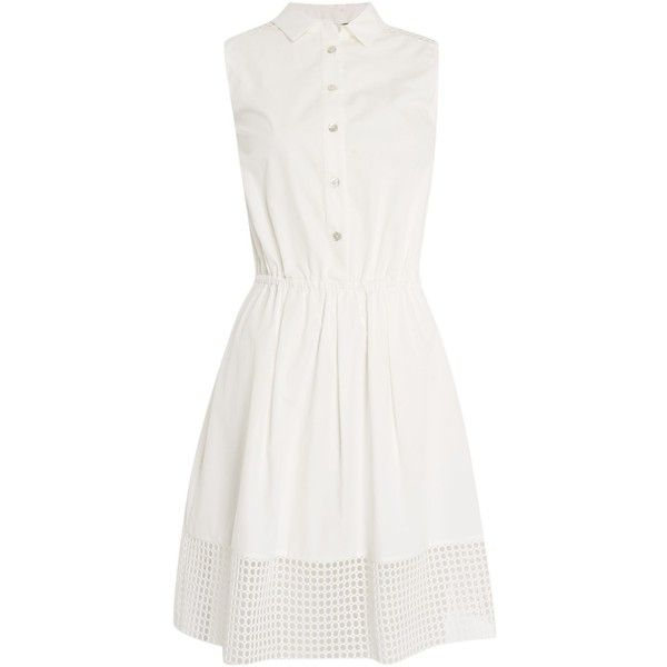 Armani Jeans Sleeve shirt dress with mesh trim ($310) ❤ liked on Polyvore featuring dresses, short dresses, white, women, collar dress, mini dress, long-sleeve mini dress, white dress and collared shirt dress