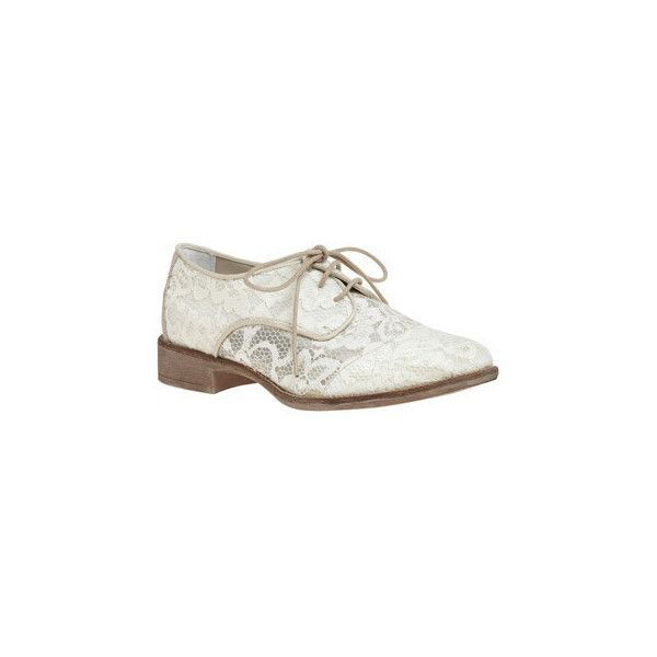 Let There Be Delight Shoe ($65) ❤ liked on Polyvore featuring shoes, oxfords, flats, lace, women, synthetic shoes, champagne shoes, lace oxford shoes, small heel shoes and lace flats