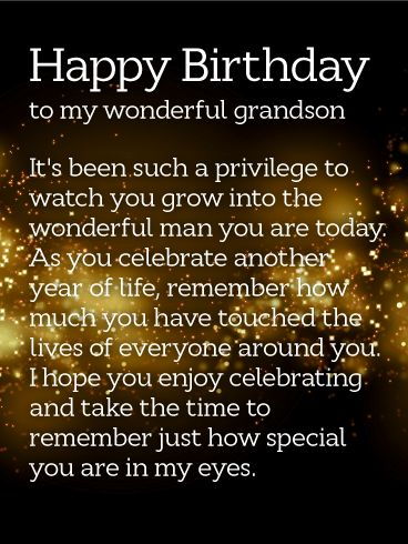 How Special You are! Happy Birthday Wishes Card for Grandson: This sentimental birthday card will touch the heart of your adult grandson. A dark night sky is full of bursting fireworks, setting a bright and festive tone for his celebration. Just as impactful are the words, which speak to the person he has become, touching the lives of all the people around him with everything he does. It's such a meaningful way to remind this special member of your family just how much he shines.