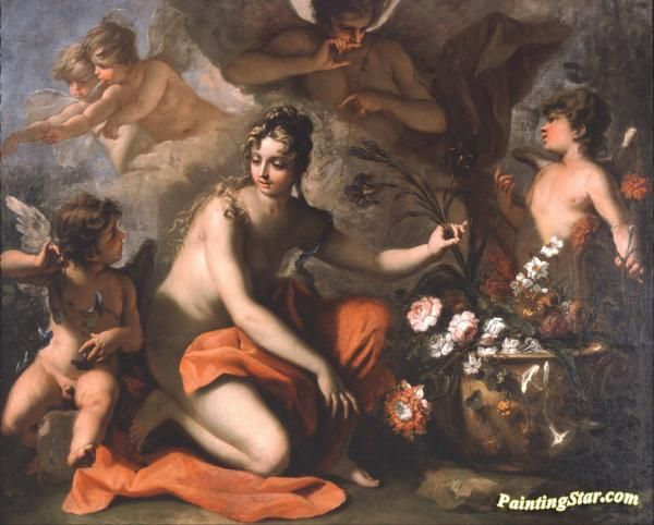 Flora Artwork by Sebastiano Ricci Hand-painted and Art Prints on canvas for sale,you can custom the size and frame
