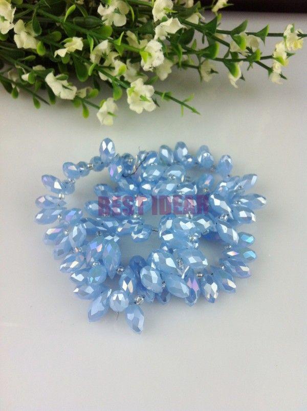 100 шт. 6 * 12 мм голубой нефрит аб кварцевый граненый хрусталь стекла слеза бусины бриолет украшения широкий бусины DIY