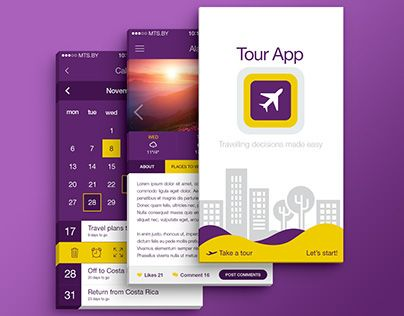 """Check out new work on my @Behance portfolio: """"Travel & Tour App (Light/Flat Theme)"""" http://on.be.net/1UWKHBY"""
