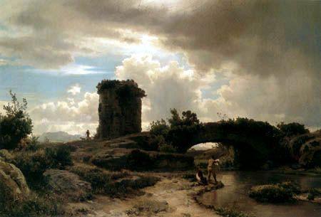 Oswald Achenbach  - Italienische Flusslandschaft mit antiken Rundgrab - 1852