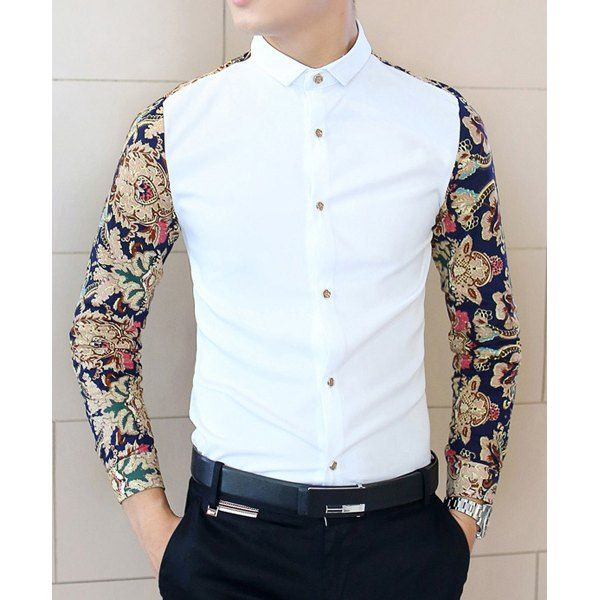 Casual Style Slimming Turn-down Collar Long Sleeves Personality Floral Print Splicing Cotton Shirt For Men
