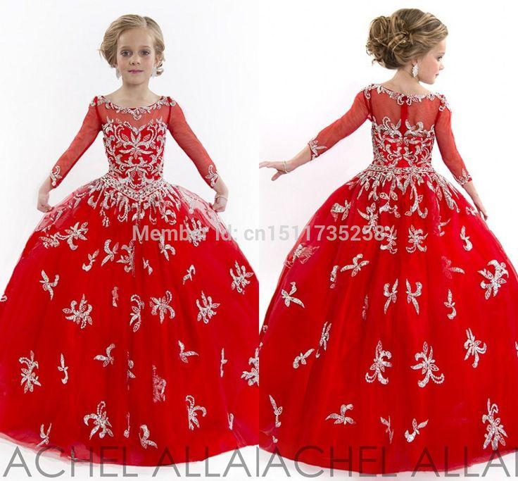 Fantastic Beaded elegante Red de manga larga Gir flor vestido moldeado niñas vestidos del desfile del banquete de boda(China (Mainland))