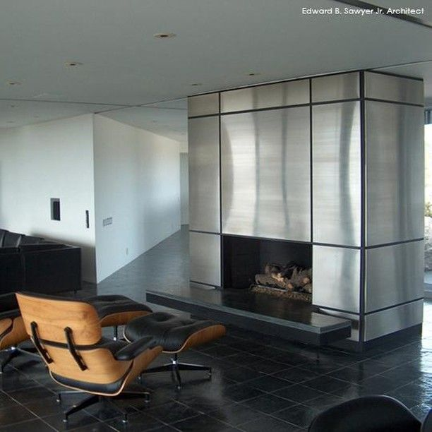 Modern interior detailing by Architect Ned Sawyer includes this metal wrapped fireplace.  Magazine link in bio.     #designicon #design #arizonadesign #desertdesign #architecture #designinspiration #concept #creative #archilovers #superarchitecture #phoenixarchitecture #phoenixarchitect #style