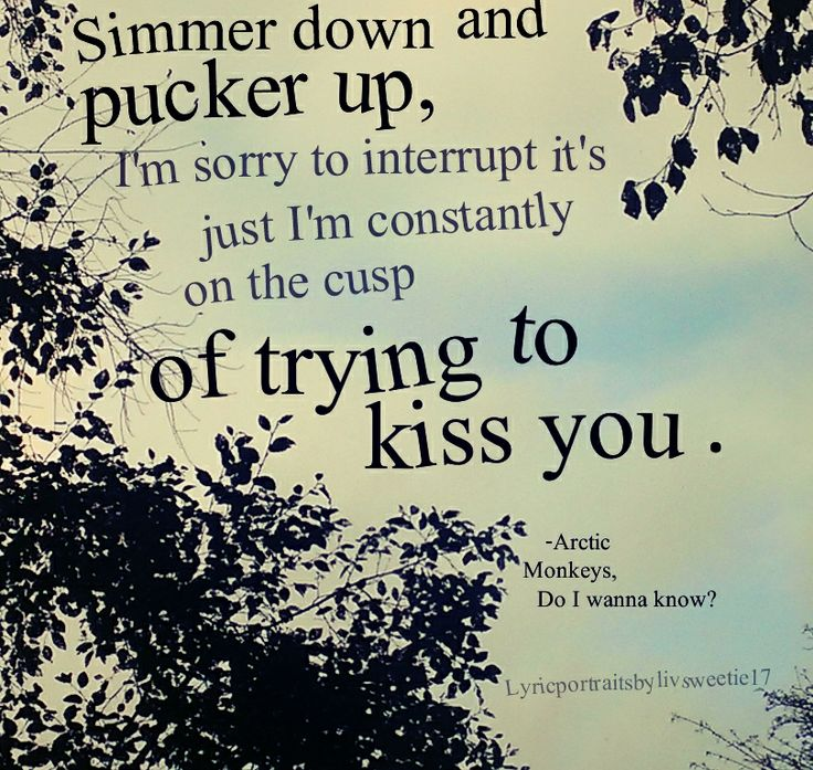 Arctic Monkeys, Do I wanna know?. Simmer down and pucker up, I'm sorry to interrupt it's just I'm constantly on the cusp of trying to kiss you. Love quotes songs lyrics
