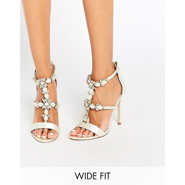 ASOS HENDERSON Bridal Wide Fit Embellished Heeled Sandals (150 ILS) ❤ liked on Polyvore featuring shoes, sandals, white, white heeled sandals, wide heel sandals, high heel stilettos, white strap sandals and heeled sandals