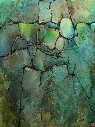 Turquoise Strata, 030417 by Carol Nelson Acrylic ~ 12 inches x 9 inches