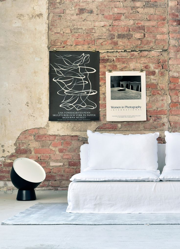 white linen sofa | red brick wall | modern living room decor | ghost  gervasoni sofa | IKEA Sderhamn sofa with a Bemz Loose Fit cover in white  linen ...