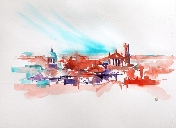 Toulouse En Grand Aquarelle Abstraite Artiste Peintre Et Aquarelle