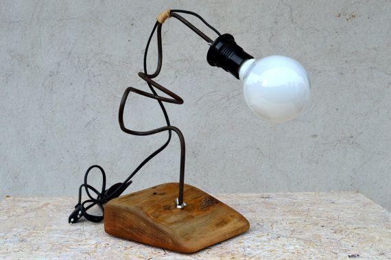 Wooden modern lamp Desk work lamp Stylized steel rod lamp Night lamp Solid wood lamp Walnut lamp