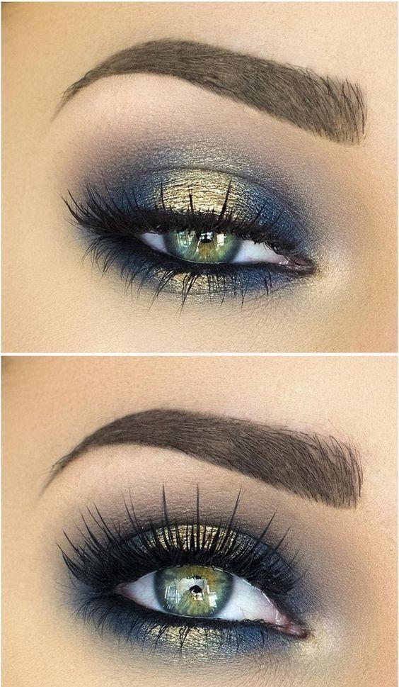 Halo Smokey Eye In Navy Blue And Gold Ladystyle Eye