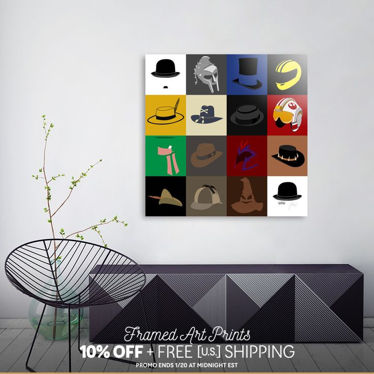 Discover «16 hats», Limited Edition Aluminum Print by Omar Gonzalez - From 95€ - Curioos (Charles Chaplin, Gladiator, Gangs of New York, Kill Bill, The Mask, Apocalypsis now, Breaking Bad, Star Wars, The Hatter, Indiana Jones, Magneto, Cocrodile Dundee, Robin Hood, Sherlock Holmes, The sorting hat, Clockwork Orange)