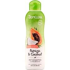 Tropiclean Shampoos and Conditioners make your dog smell like a tropical vacation.  Using them leaves your dog's coat soft and silky.
