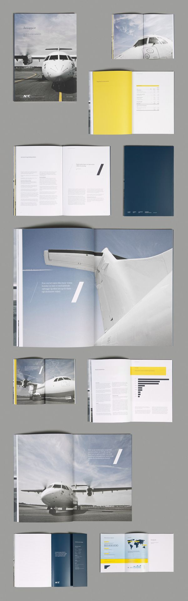 the stark yellow combined with the muted blues and soft grey/white is very pleasing to the eye.  the different perspectives of the plane create interesting borders to frame the text with.