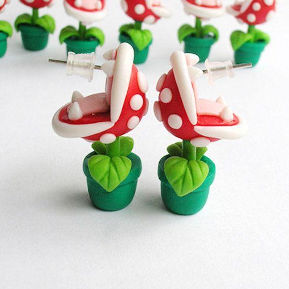 Diese schöne SNES Marios Bros Piranha-Ohrringe sind aus Fimo, handgemachte kümmert sich um jedes Detail für Sie gefertigt. Aus einfachen