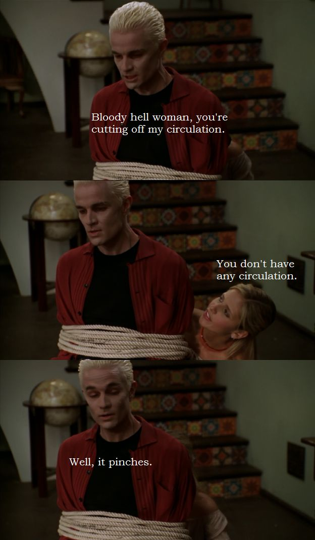 "Spike: ""Bloody hell woman, you're cutting off my circulation."" ~~~ Buffy: ""You don't have any circulation."" ~~~ Spike: ""Well it pinches."""