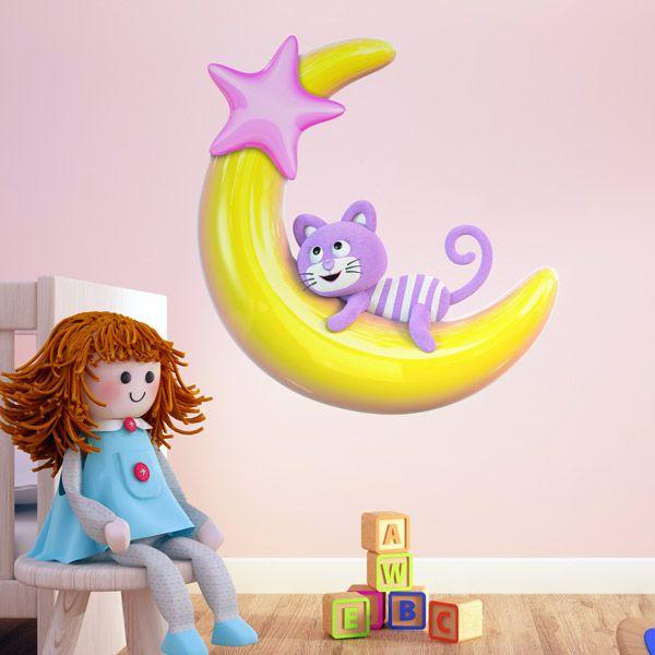 vinilos infantiles gatito prpura en la luna decoracin para infantiles o de